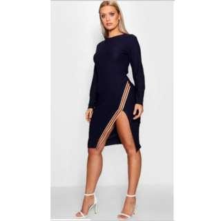 Boohoo Plus Tape Trim Long Sleeve Midi Dress size 22 - Sport Luxe dress