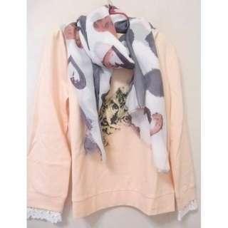 🚚 原價2380 大折扣 粉紅控 修飾小肚肚 PS COMPANY全新甜美粉色可愛貓貓蕾絲上衣0918