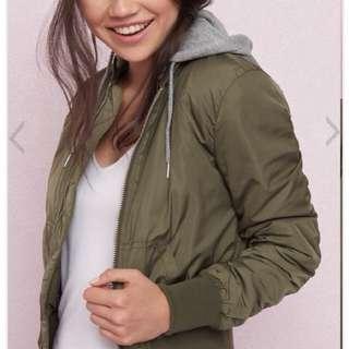 Green Hoodie Bomber Jacket