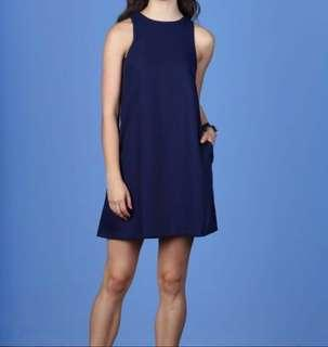 Vivienne Pocket Shift Dress in NAVY from Hollyhoque