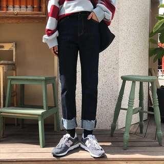 🚚 捲邊褲子深色牛仔直筒褲 翻邊褲子原宿風學生高腰深色寬松直筒卷邊牛仔褲女潮
