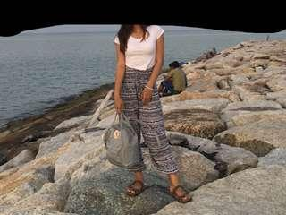 White crop top and bohemian thai elephant long pants #everything18