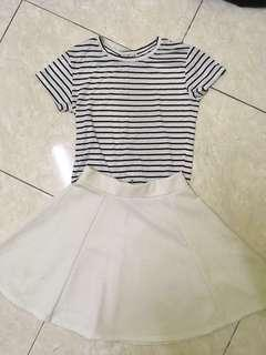 White flare skirt and stripes shirt top #everything18