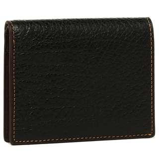 New Coach F11989 Men's Slim Coin Full Leather Wallet (Black Exterior Brown Interior)