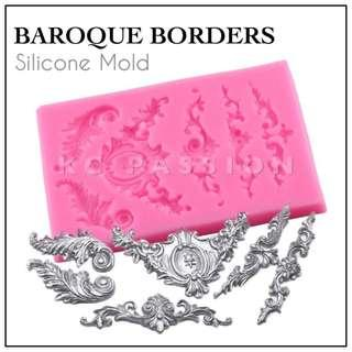 🏛 BAROQUE BORDERS SILICONE MOLD  • EUROPEAN STYLE • LACE PATTERN BORDER SILICONE MOLD Tool for Pastry • Chocolate • Fondant • Gum Paste • Candy Melts • Jelly • Gummies • Agar Agar • Ice • Resin • Polymer Clay  • Candle Wax • Soap • Chalk • Crayon Mould