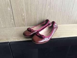 Salvatore Ferragamo bow flat shoes 漆皮蝴蝶結平底鞋
