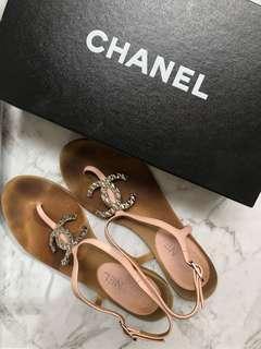 Authentic Chanel CC Sandals pink 38