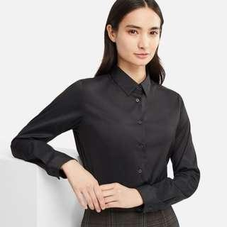 WOMEN Supima Cotton Stretch Long Sleeve Shirt in Black