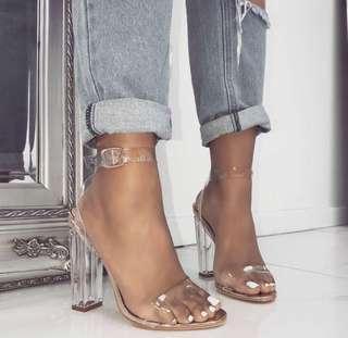Nude clear heels
