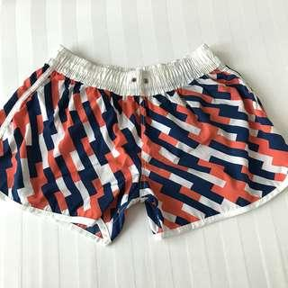 Coral, Navy Blue, and White Printed Board Shorts