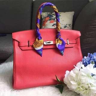 🔥CNY sale🔥 Hermes Birkin 35 N Square In Bougainvillea Clemence Leather and Palladium Hardware PHW
