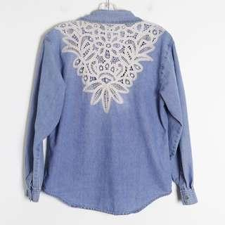 Denim women's shirt with crochet lace back blue white top S small