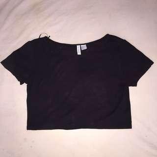 H&M black basic crop top