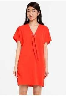 Zalora Essential Tie Front V Neck Dress