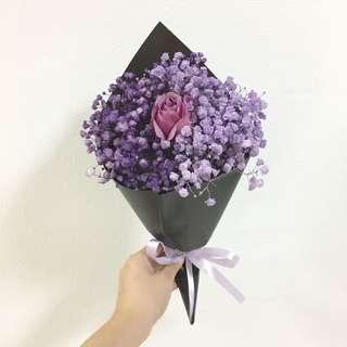 Purple Bouquet in Baby Breath and Rose