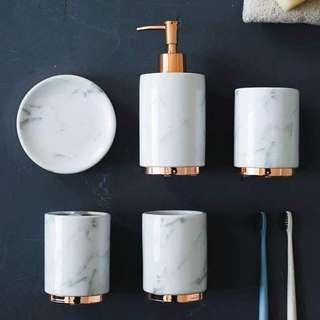 Rose gold white marble accessories