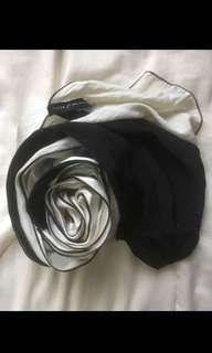 Fleur Malaysia Black & White Satin Silk Shawl