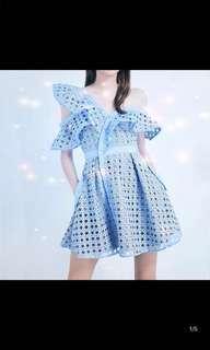 Pastel Blue Off-Shoulder Dress