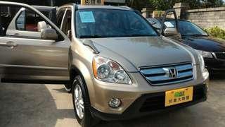 1,廠牌型號:Honda CRV2.0 兩輪驅動  2,車輛年份:2005年  3,預售金額:17萬  4,所在地區:台中市(歡迎預約看車)  5,聯絡方式:0923 288 838 &LINE:同電話號碼  6,備註說明:(實車實價可全額貸款),天窗,雙安,皮椅,DVD衛星導航娛樂影音系統,倒車攝影鏡頭,一手車認證好車, Honda CRV在台暢銷車種,零件維修便宜,省油,操控性佳,可靠度高少故障,中古行情平穩。