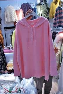 🚚 正韓可愛粉色連帽針織縮袖毛衣