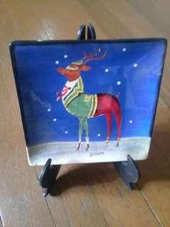 """Christmas """"Blitzen"""" Decorative Plate with stand"""