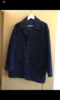 藍色絨褸 navy wool coat