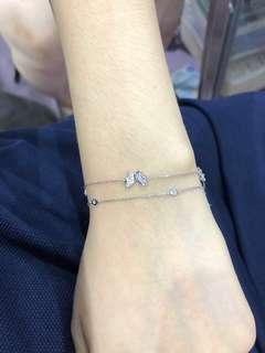 蝴蝶+水泡18k金鑽石手鍊