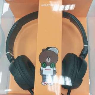 🚚 LINE 熊大 正版授權 耳罩式耳機 頭戴式