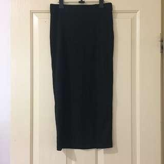 BNWT Black Ribbed Midi Skirt (S)