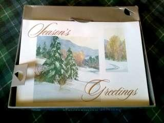 16 Pc Imported Glittered Christmas Cards Box Set