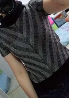 #yukjualan turtleneck stripe black