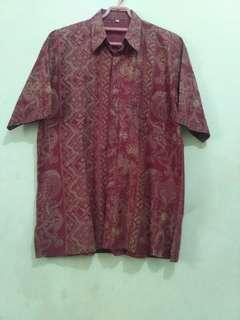 Kemeja batik pink