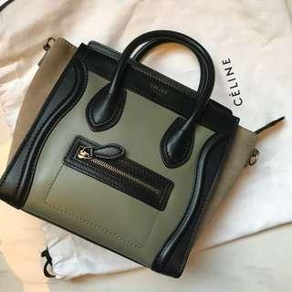 Celine nano bag 墨綠色x卡其色袋 有長孭帶 可斜孭