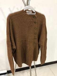 二手 土色 銅釦針織毛衣