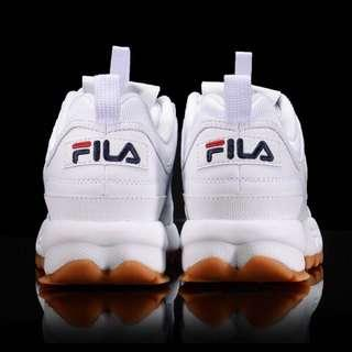 FILA DISRUPTOR 2-中性復古運動鋸齒鞋-焦糖底 4-C608S-119