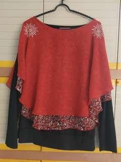 Set Baju Rok Gamis Merah Muslimah Muslim Dress Pesta