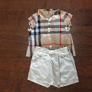 Authentic Burberry Blouse and skorts