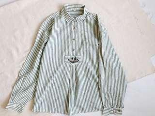 古著 vintage 刺繡棉質直條紋罩衫上衣 pullover 半領