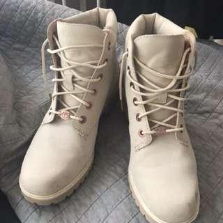 Beige Rose Gold Timberland Boots (authentic)
