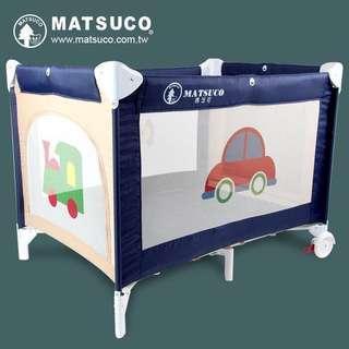 近全新 Matsuco PY840 收折式平邊嬰兒床/遊戲床(附蚊帳、床墊、收納袋)