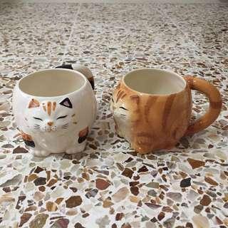 Pair of cat cups