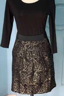 Ciel Peplum Skirt in Black and Gold