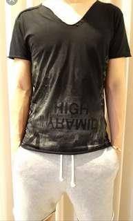 Pull&Bear Black Cotton Tshirt