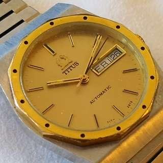 Swiss Made TITUS Automatic Winding watch (瑞士製鐵達時男裝自動機械錶)