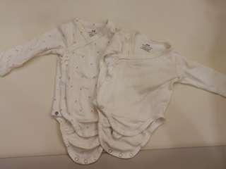 H&M Preloved 2-4 Months 2-pack Wrapover Bodysuits #EVERYTHING18
