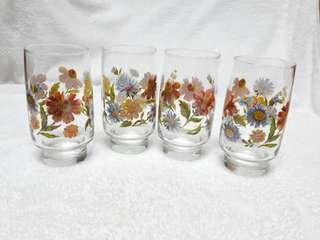 "☇Vintage floral 5"" glass set (4pcs)☇"