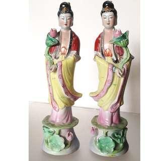 A pair Overgrazed Porcelain figure of fairy.
