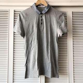 Topman Grey Shirt with Blue Printed Collar
