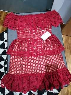SP same design red lace dress