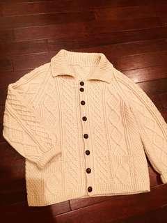 70s蘇格蘭 手織厚磅羊毛考津毛衣外套  vintage